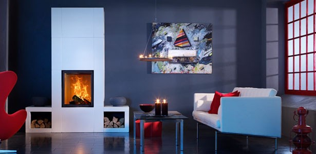 Wall stove in a modern interior
